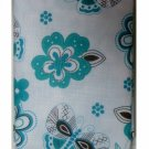Teal Brown Calypso Floral and Butterflies Tablecloth