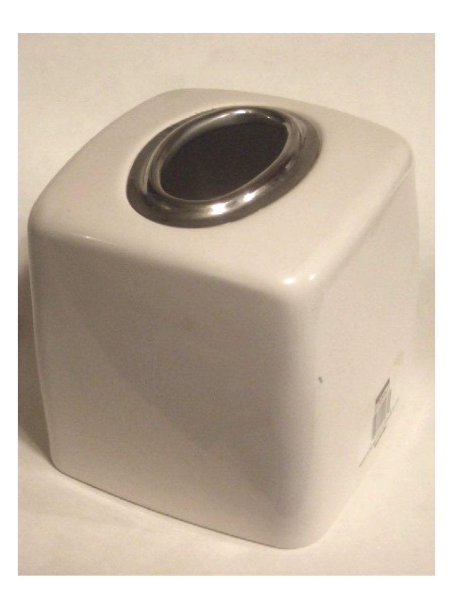 Cream Metal Tissue Box Cover