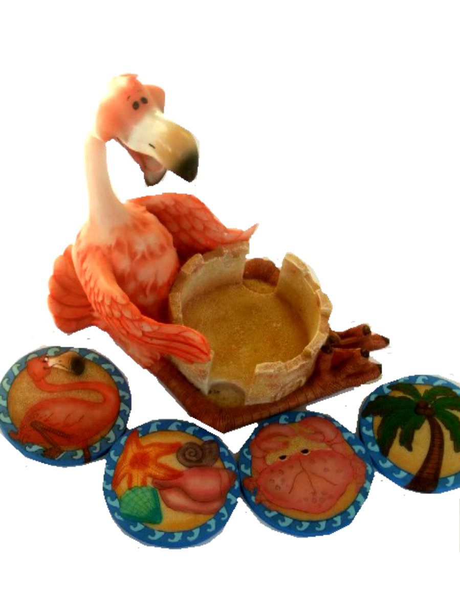 Flamingo Statue Beach Coasters Set