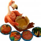Flamingo Statue Beach Coasters Set