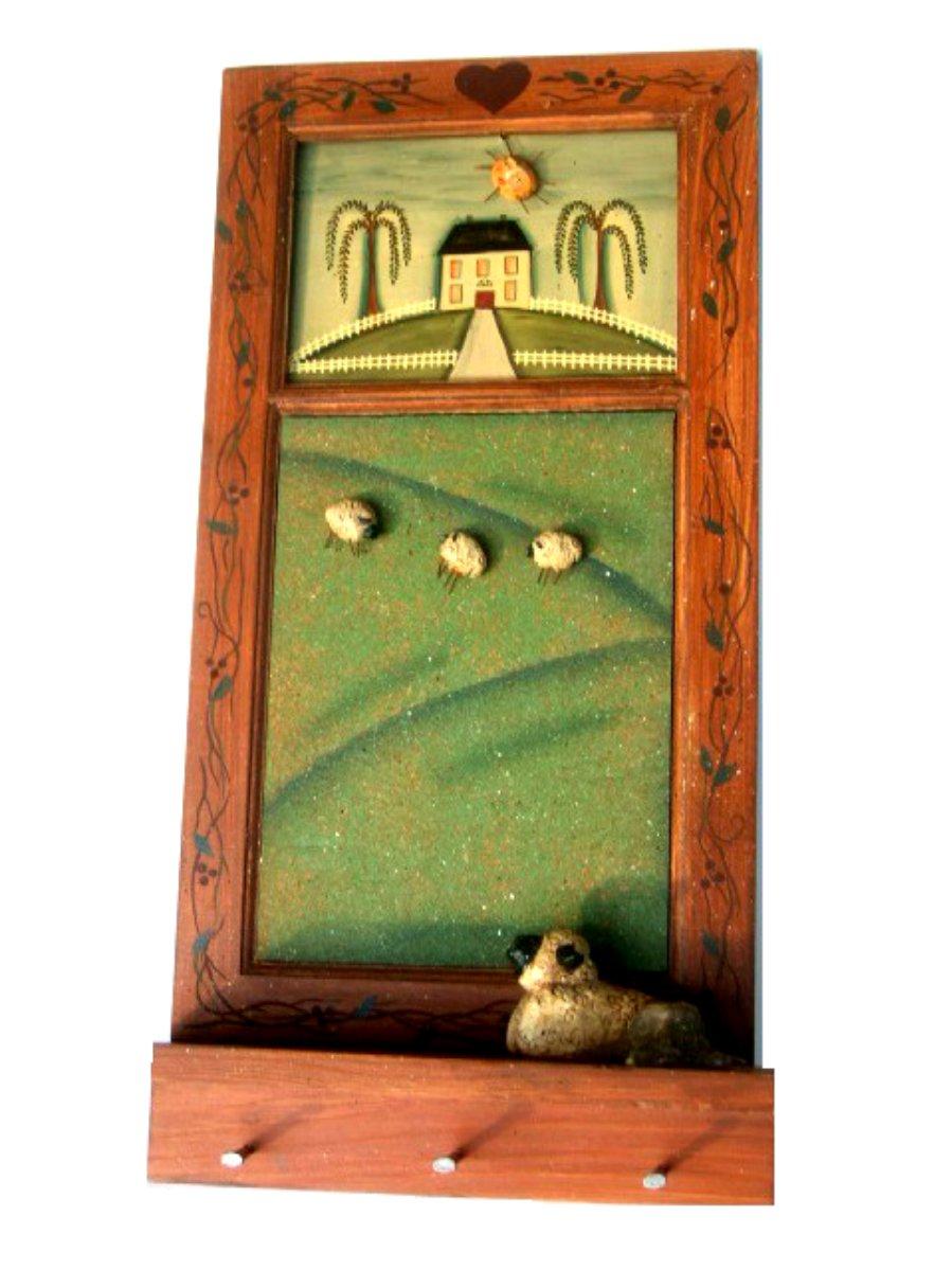 Primitive Sheep Message Memo Board Key Holder