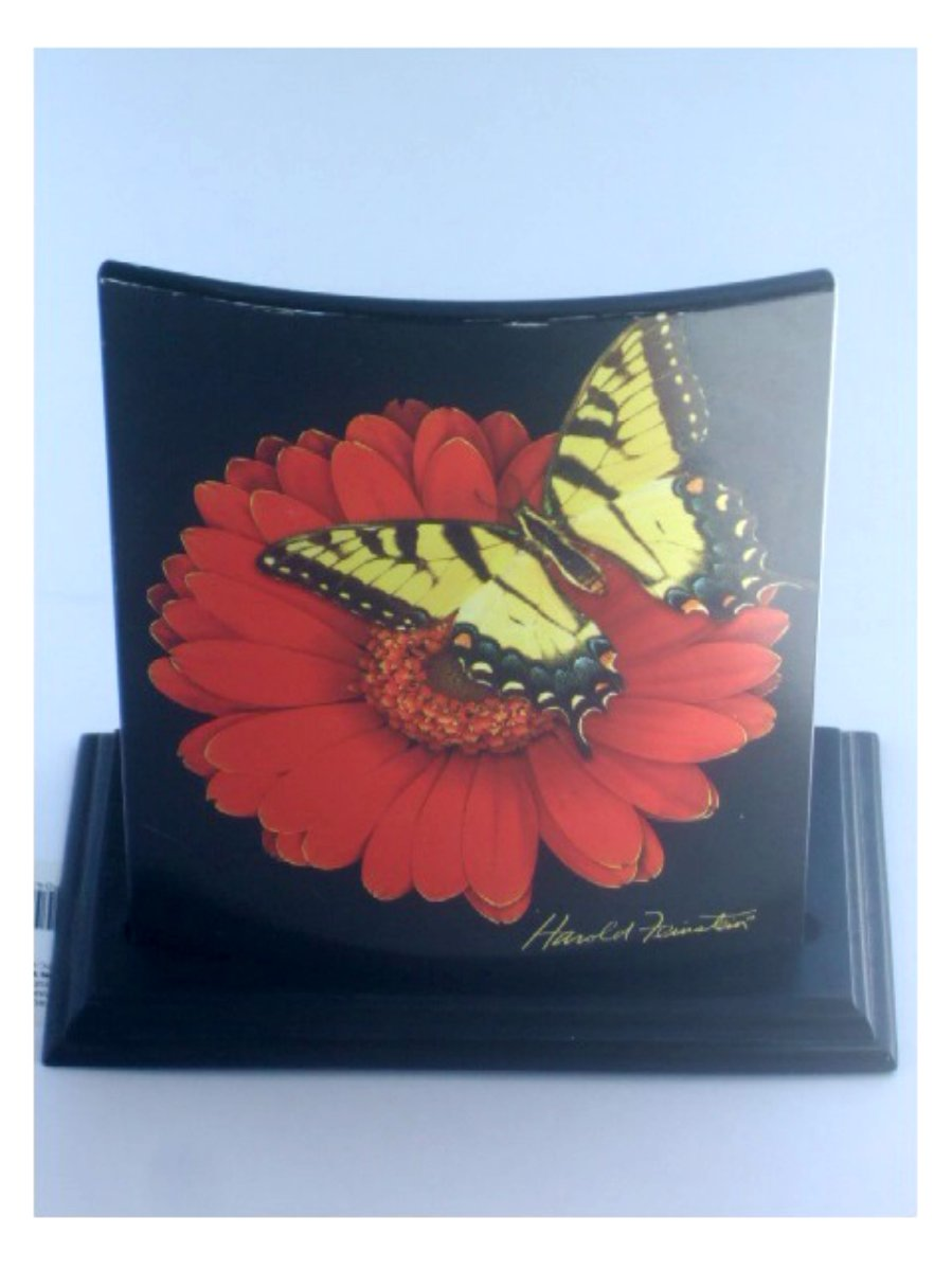 Flower and Butterfly Glass Candle Holder