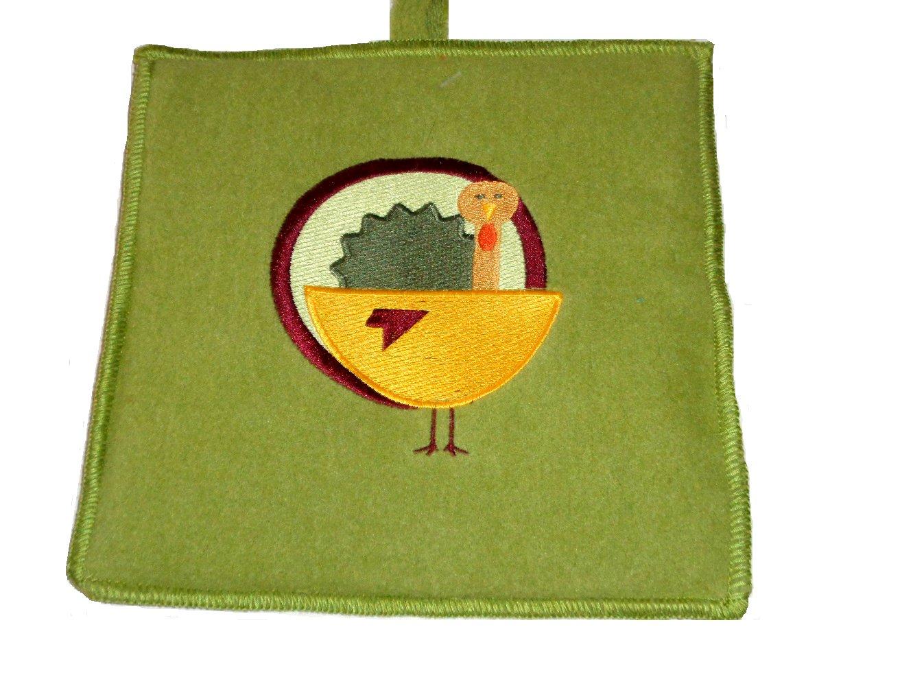 Embroidered Turkey Pot Holders Set Thanksgiving Kitchen Décor
