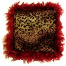 Leopard Print Pillow Red Boa Feathers