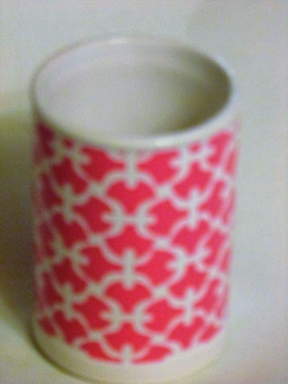 Pink Trellis Bathroom Tumbler Ceramic