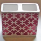 Pink Trellis Toothbrush Holder Ceramic
