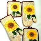 Sunflowers Potholders Oven Mitts Kitchen Linens Set
