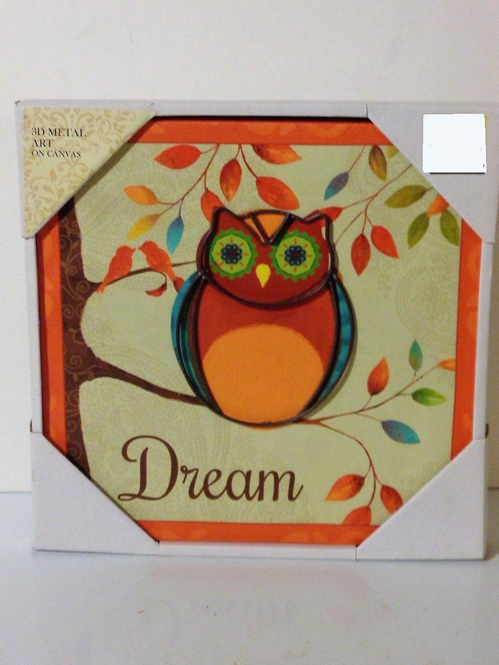 Inspirational Owl Wall Decor Metal on Canvas  Art