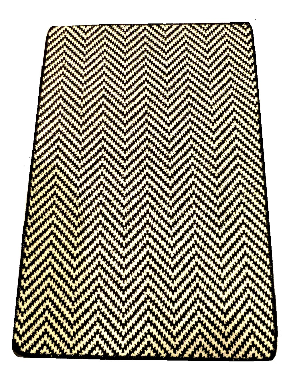 White Black Chevron Broadloom Rug Mat