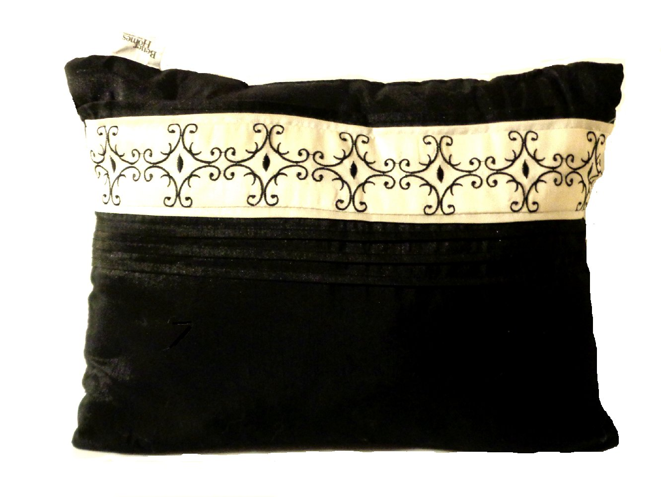 Black Ivory Silky Throw Pillow Scroll Pleats