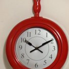 Red Skillet Frying Pan Kitchen Wall Clock