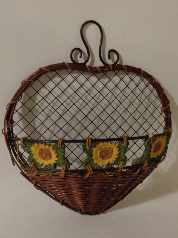 Sunflowers Floral Wall Basket  Autumn Fall Decor