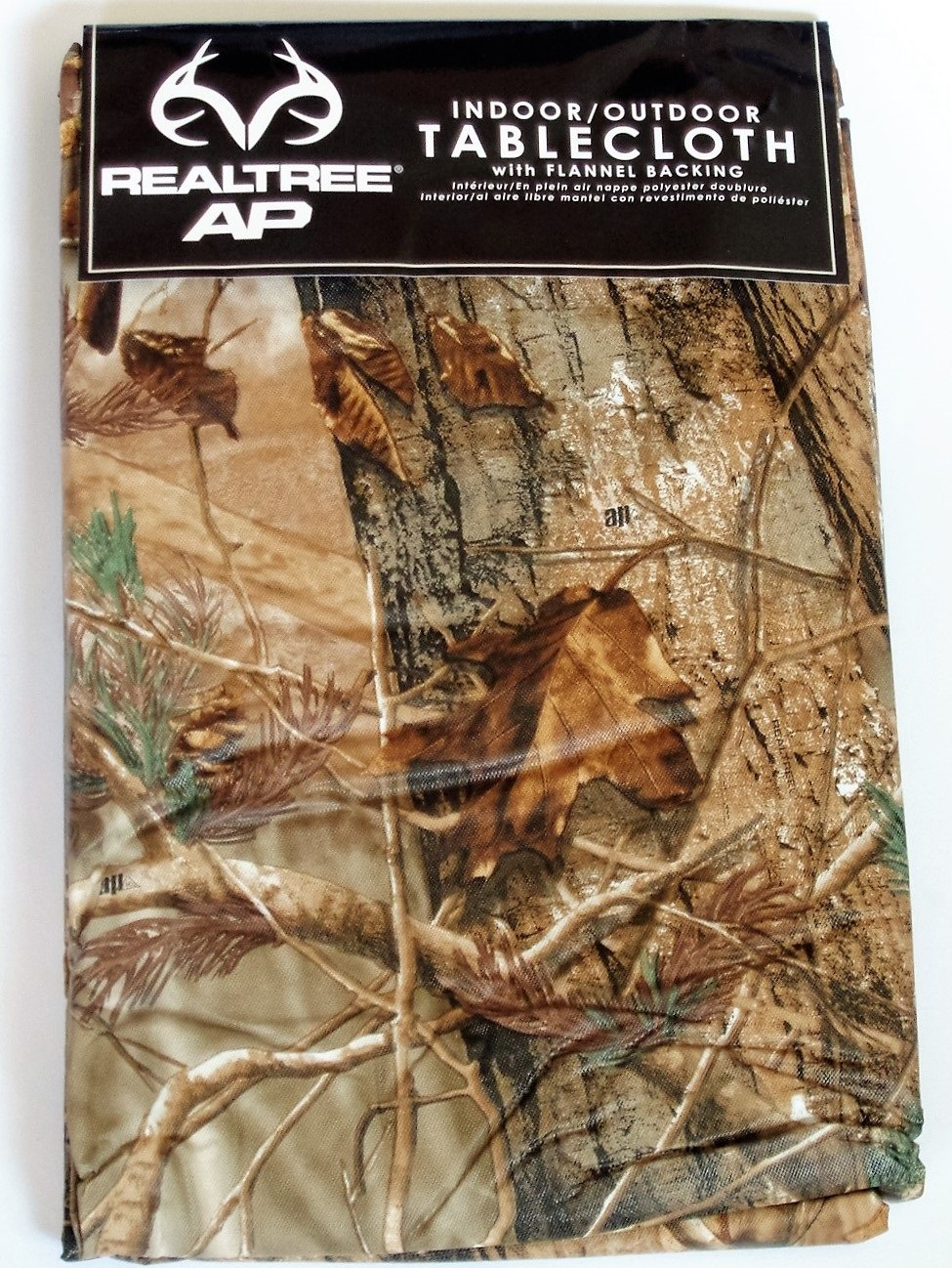 Cabin Lodge Themed Camouflage Trees Peva Tablecloth Round