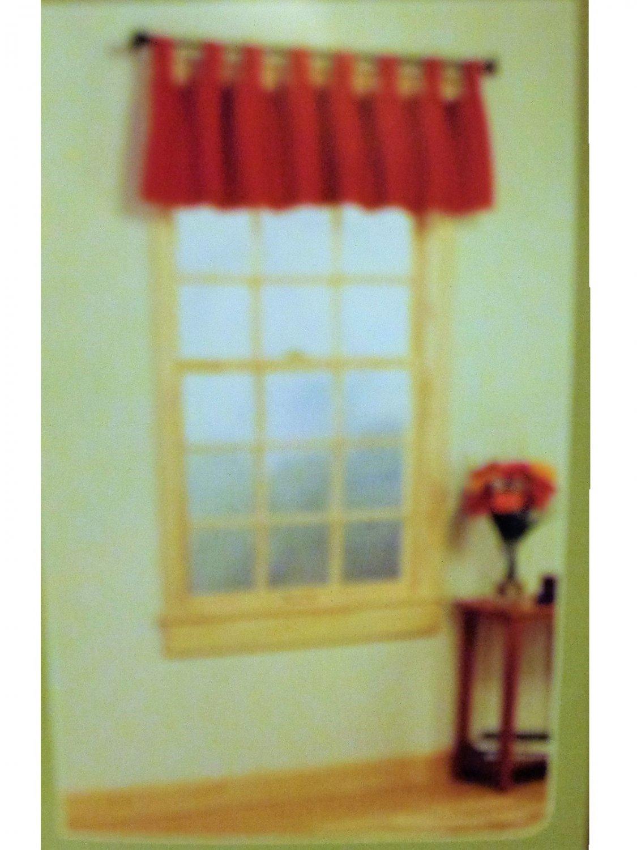 Autumn Red Chino Tab Top Valance Window Treatment