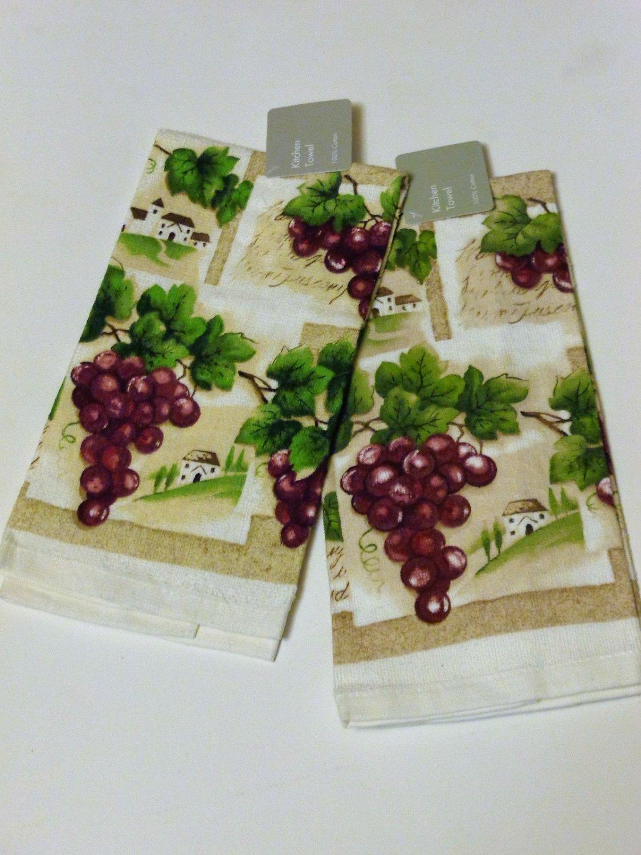 Tuscan Grapes Kitchen Towels Set Grape Postcard