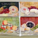 Tuscan Grapes Cheese Stoneware Coasters Set