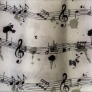Musical Notes Fabric Shower Curtain and Hooks