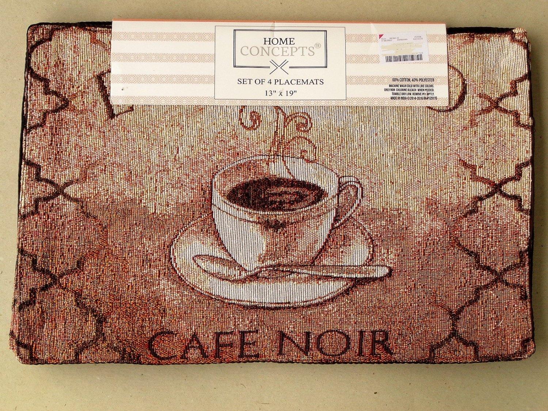 Espresso Café Noir French Coffee Cup Placemats Set