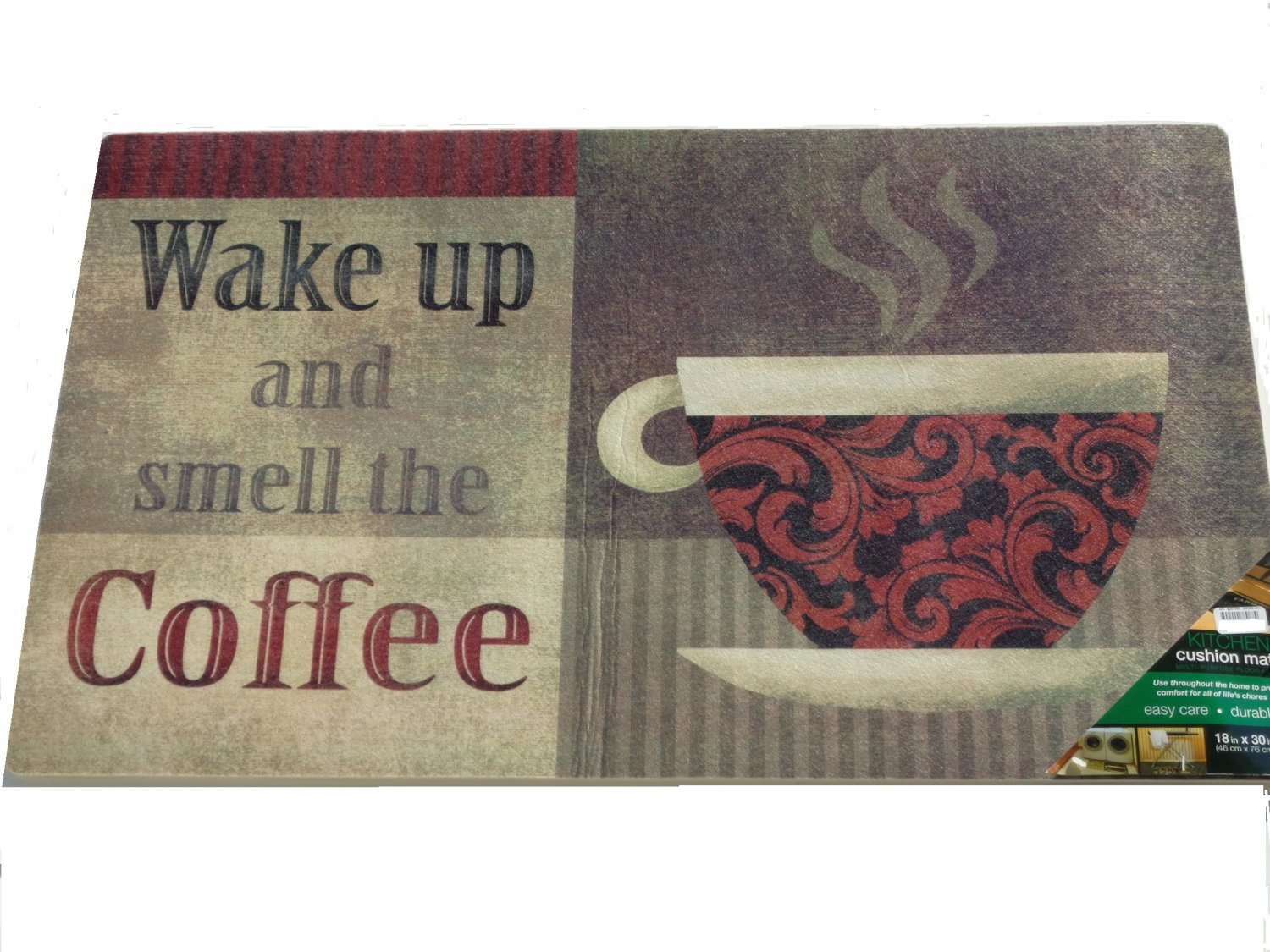 Wake Up and Smell the Coffee Kitchen Rug Cushion Mat