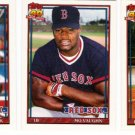 1991 Topps Traded Boston Red Sox Team Set-3 Cards