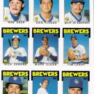 1986 Topps Traded Milwaukee Brewers Team Set-9 Cards