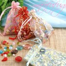 SMALL Rose Flower Gold Drawstring Organza Bag - $1 each