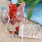 MEDIUM Rose Flower Gold Drawstring Organza Bag - $2 each