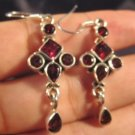 925 Silver natural Garnet stone crystal earrings  A