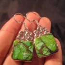925 Silver Green Turquoise earrings jewelry art A