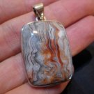 925 Silver Crazy Lace Agate Stone Pendant Jewelry art A