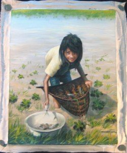 Cambodia little girl collecting fish oil painting art A