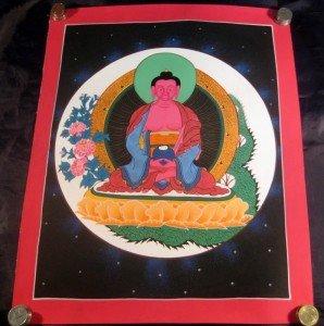 24 K Gold Crimson Shakyamuni Buddha Thangka Painting A