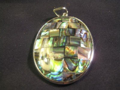 925 Silver Mother of Pearl Shell Pendant Jewelry Art A