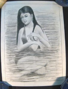 Cambodia Woman pencil drawing sketch nude art painting A