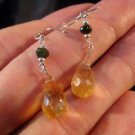 925 Silver Citrine crystal stone Earrings Afghanistan Jewelry mineral art A