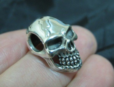 925 Sterling Silver Skull pendant necklace  jewelry art Thailand C