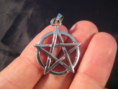 925 sterling silver wicca pentagram pendant necklace jewelry art     A3