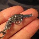 925 Silver Gun Revolver Pistol pendant necklace jewelry art
