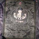 Pure Silver Chenrezig Chengrezi Shakyamuni Thangka Thanka Painting Nepal Art