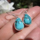 925 Silver Himalayan Turquoise earrings Nepal Jewelry  A2