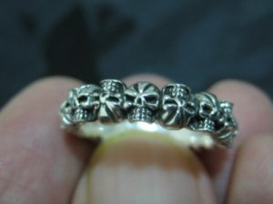 925 Sterling Silver many Skull Skulls Ring jewelry art Size 8.5 Thailand