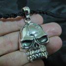 925 Sterling Silver Skull Lucky Thirteen pendant necklace  jewelry Thailand
