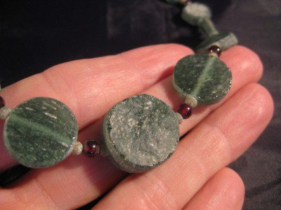 925 Silver Roman Glass Antique Green Bead Necklace 1500 yrs  A5