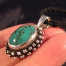 925 Silver Tibetan Turquoise stone crystal Pendant Necklace Nepal Jewelry Art