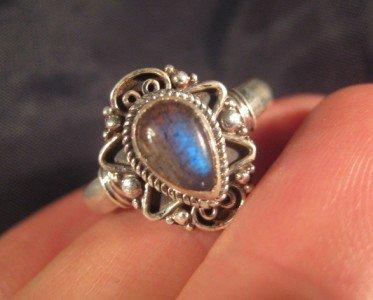 925 Silver Labradorite crystal  mineral stone Ring Nepal jewelry art Size 9.5