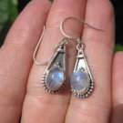 925 Silver Moonstone pair Earrings Earring jewelry Nepal himalayan art A6