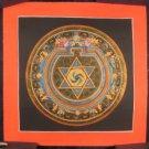 Small  24 K gold Star Ohm Thangka Thanka Mandala Painting Nepal Art