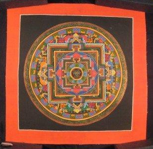 Small 24 K gold Lotus Flower Thangka Thanka Mandala Painting Nepal Art
