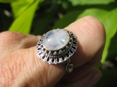925 Silver Moonstone Ring  jewelry Nepal Size 9.75 US UN