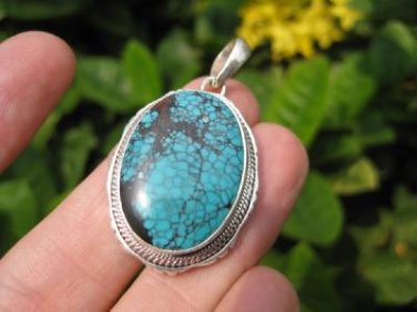 925 Silver Tibetan Turquoise stone crystal Pendant Necklace Nepal Jewelry Art C2